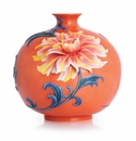 Franz Porcelain Collection Exotic Peony Design Sculptured Porcelain Mid Size Vase