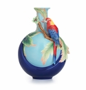 Franz Porcelain Collection Blue Winged Parrot Design Sculptured Porcelain Mid Size Vase
