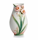 Franz Porcelain Collection Daffodil Design Sculptured Porcelain Small Vase