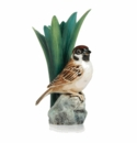 Franz Porcelain Tree Sparrow Bird Porcelain Hand Painted Small Vase