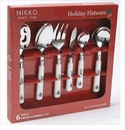 Nikko China Dinnerware Holiday Flatware 6 Piece Entertainment Set