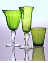 Abigails Green Bubble Glass Champagne Flute