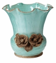 Vietri Rustic Garden Aqua Scalloped Planter with Flowers