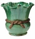 Vietri Rustic Garden Green Scalloped Cachepot with Rope