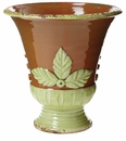 Vietri Rustic Garden Brown and Pistachio Leaf Planter