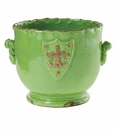 Vietri Rustic Garden Terrace Bright Green Cachepot with Emblem
