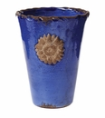 Vietri Rustic Garden Terrace Cobalt Vase with Flower