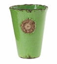 Vietri Rustic Garden Terrace Bright Green Vase with Flower