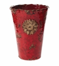 Vietri Rustic Garden Terrace Red Vase with Flower