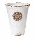 Vietri Rustic Garden Terrace White Vase with Flower