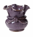Vietri Rustic Garden Terrace Purple Scalloped Cachepot