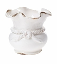 Vietri Rustic Garden Terrace White Scalloped Cachepot