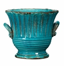Vietri Rustic Garden Small Turquoise Striped Planter