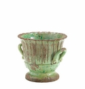 "Vietri Rustic Garden Small Light Green Striped Planter 9.5""D"