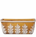 Vietri Rustic Garden Amber Rectangular Planter with White Leaves