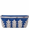 Vietri Rustic Garden Cobalt Rectangular Planter with White Leaves