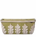 Vietri Rustic Garden Pistachio Rectangular Planter with White Leaves