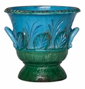 Vietri Rustic Garden Aqua/Dark Green Ringed Planter