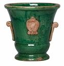 Vietri Rustic Garden Medium Green Handled Planter