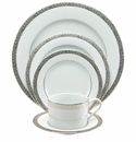 Nikko China Platinum Filigree 5 Piece Dinnerware Place Setting