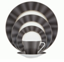 Nikko China Silk Black Elite Modern 5 Piece Dinnerware Place Setting