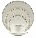 Nikko China South Sea Platinum Beaded Pearl 5 Piece Dinnerware Place Setting