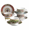 Andrea by Sadek Antique Sevres Set of Four Assorted Cup & Saucer Sets
