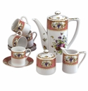 Andrea by Sadek Antique Sevres Peach 13 Piece Coffee Set