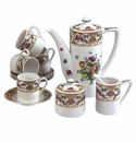 Andrea by Sadek Antique Sevres Purple 13 Piece Coffee Set