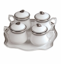 Andrea by Sadek Pot De Creme Set White/Platinum