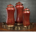 Dessau Home Red Porcelain Moroccan Jar - Medium