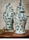 Dessau Home Blue & White Porcelain Temple Jar