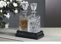Dessau Home Wood Chinoisserie Stand with 2 Crystal Decanters