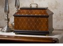 Dessau Home Decor Wood Finish Hinged Box with Diamond Pattern