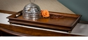 Dessau Home Mahogany Wood Finish Rectangular Wood Tray with Ball