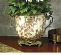 Dessau Home Autumn Branch Porcelain Planter with Brass Accents