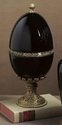 Dessau Home Black Porcelain Egg with Brass Accents