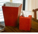 Dessau Home Burnt Orange Croc Tissue Box