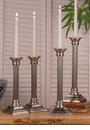 Dessau Home Pewter Square Base Column Candlestick