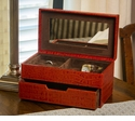 Dessau Home Burnt Orange Croc Jewelry Box