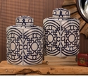 Dessau Home Blue and White Geometric Design Tea Jar