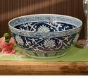 Dessau Home Blue & White Lily Bowl