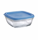 Duralex Square Glass Storage Bowl with Lid 36 Oz.