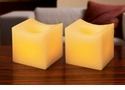 "Candle Impressions Flameless Candles Cream 2"" Mini Curved Squares Vanilla Fragrance (2 Pack)"