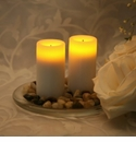 "Candle Impressions Flameless Candles Cream 3"" Smooth Wax Covered Votive Unscented (2 Pack)"