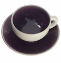 Jars Ceramics Tourron Eggplant & White Tea Cup & Saucer 6.1 oz