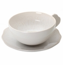 Jars Ceramics Plume White Pearl Tea Cup & Saucer 6.7 oz