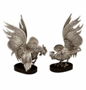 "Andrea by Sadek 9"" H Silver Plated Fighting Cocks Pair"