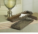 Dessau Home Antique Silver Rectangular Footed Fan Leaf Tray