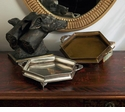 Dessau Home Antique Brass Hexagon Silver Footed Tray